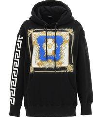 versace hoodie with medusa renaissance silk panel