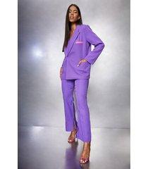 geplooide getailleerde broek met voorsplit, purple