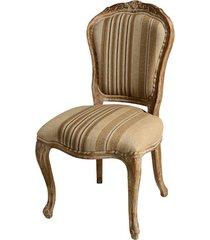 cadeira provence de madeira sem braço assento de linho