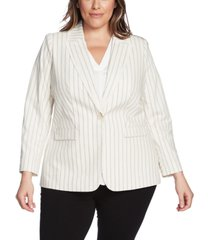 vince camuto plus size frayed-trim striped blazer