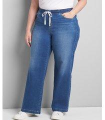 lane bryant women's pull-on wide leg jean 24 medium denim