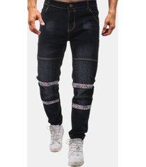 biker folds washed sottile jeans per uomo