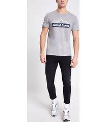 mens jack and jones grey printed t-shirt