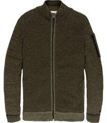 zip jacket cotton mouline slub forest night