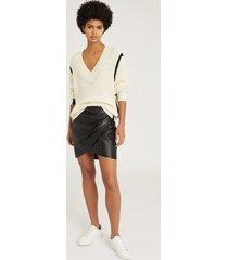 reiss saffron - leather wrap front mini skirt in black, womens, size 14