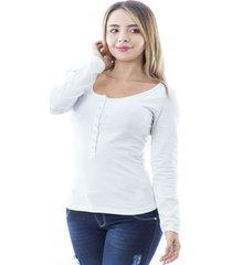 blusa  color blanco para dama manga larga con broches talia