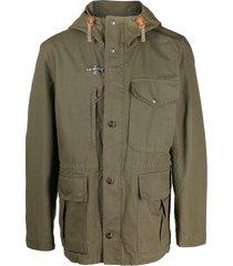 fay multi-pocket hooded parka - green