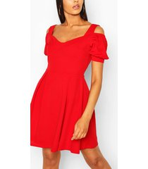 cold shoulder cup detail skater dress, red