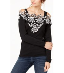 inc applique cold-shoulder sweater, created for macy's
