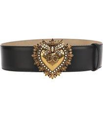 dolce & gabbana black leather dg heart belt