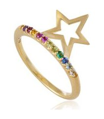 aliança rainbow star oa com pedrinhas variadas