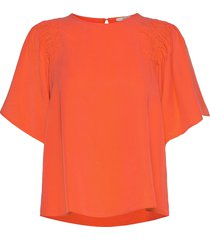 blouses woven blouses short-sleeved orange esprit casual