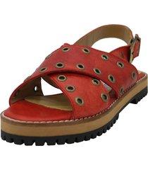 sandalia de cuero rojo leblu