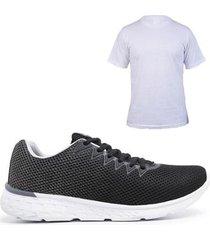 tênis simon vergan confortável degradê masculino + camiseta p - masculino