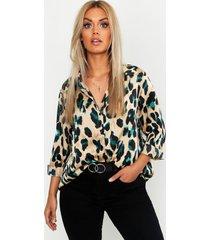 plus satijnen luipaardprint blouse, zwart
