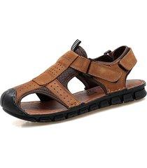 uomo vera pelle sandali anti-collisione per esterni resistenti allo scivolamento
