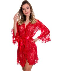 robe em renda estilo sedutor com fita de cetim vermelho - ek5014 - vermelho - feminino - renda - dafiti