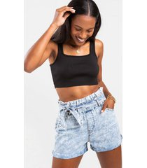 jasmine tie front denim shorts - blue