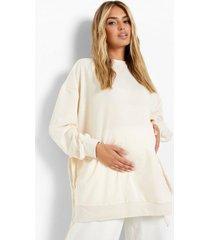 zwangerschap gerecyclede borstvoeding sweater met zijstrikjes, stone