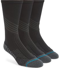 men's stance assorted 3-pack athletic crew socks, size large - black