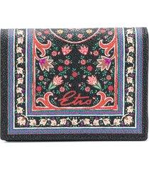 etro floral-print small wallet - black