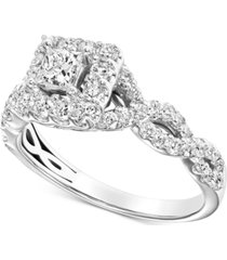 diamond square halo braided shank engagement ring (1 ct. t.w.) in 14k white gold