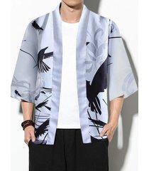 chaqueta de punto con estampado de animales de pájaro casual de otoño para hombre