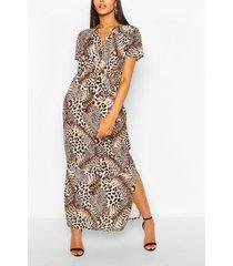 mixed animal maxi dress, brown