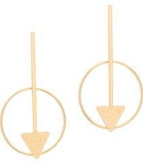 brinco bijoulux fomato de flecha com aro circular semi jóia