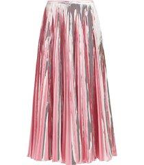 plissé foil ankle-length skirt