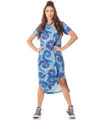 vestido midi yacamim camisetão azul