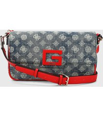 bolso azul denim-rojo guess