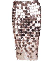 paco rabanne transparent pink sparkle skirt