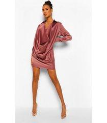 satijnen blouse jurk met extreme col, mauve
