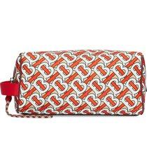 burberry monogram print travel pouch - orange