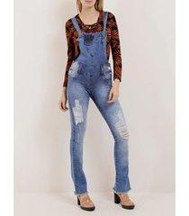 macacão jardineira jeans feminino naraka
