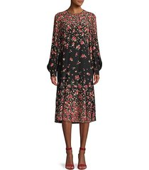 ombre floral silk drop-waist dress