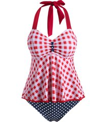 polka dot plaid mock button halter plus size tankini swimwear