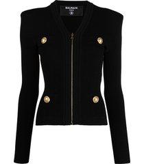 balmain zipped ribbed-knit jacket - black