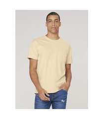 camiseta masculina regular com bolso - amarelo