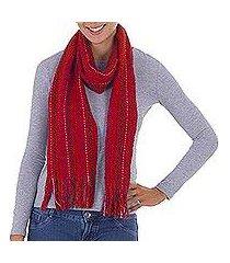 pima cotton scarf, 'delightful red' (peru)