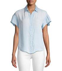ruffle short-sleeve chambray shirt