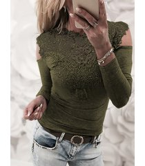 army green lace details cold shoulder long sleeves t-shirt