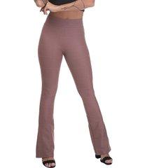 calça cintura alta miss blessed flare bandagem chocolate