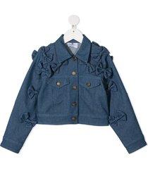 raspberry plum bow-embellished denim jacket - blue