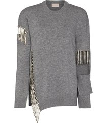 christopher kane cut-out crystal-fringe jumper - grey