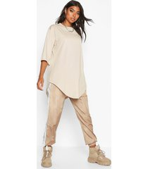 tall curve hem oversized t-shirt, stone