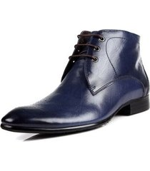 handmade mens derby blue ankle high boots, mens lace-up dress leather boots