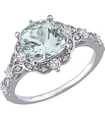 sonatina women's 14k white gold, aquamarine, white sapphire & diamond ring/size 6 - size 6