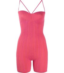 pink striped le body arancia jumpsuit